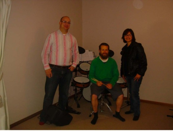 Melbourne drumming teacher George Weis with XM eDrum's Wendy Jen and XM's friend Jesse Somer