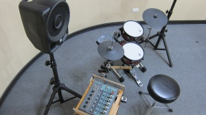 Top view of a red XM Busker Series B10-8SR eDrum kit (B18-9SR's 'little sister').